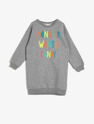 Koton Kids Yazılı Baskılı Elbise Gri